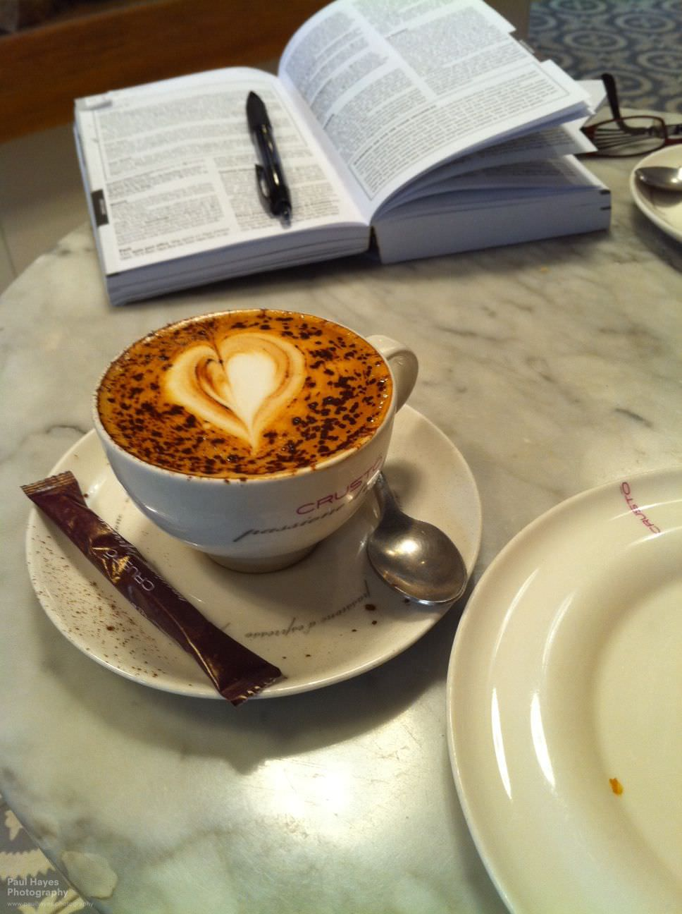 Coffee and day planning at Crusto