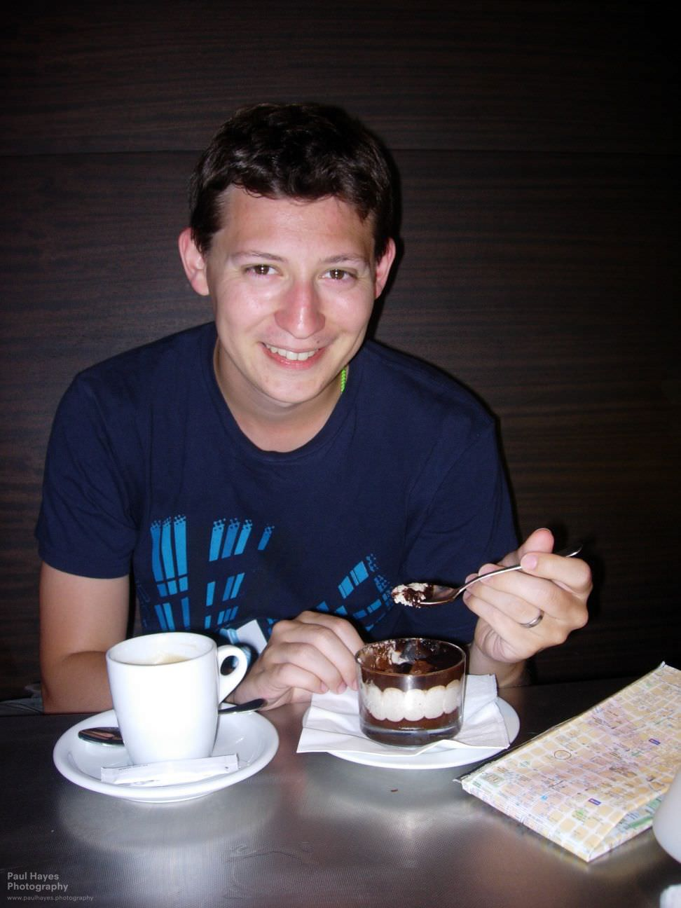 Paul with his almond chocolate dessert