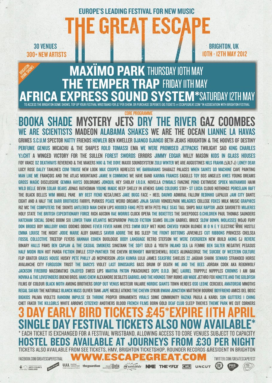 The Great Escape 2012 lineup poster