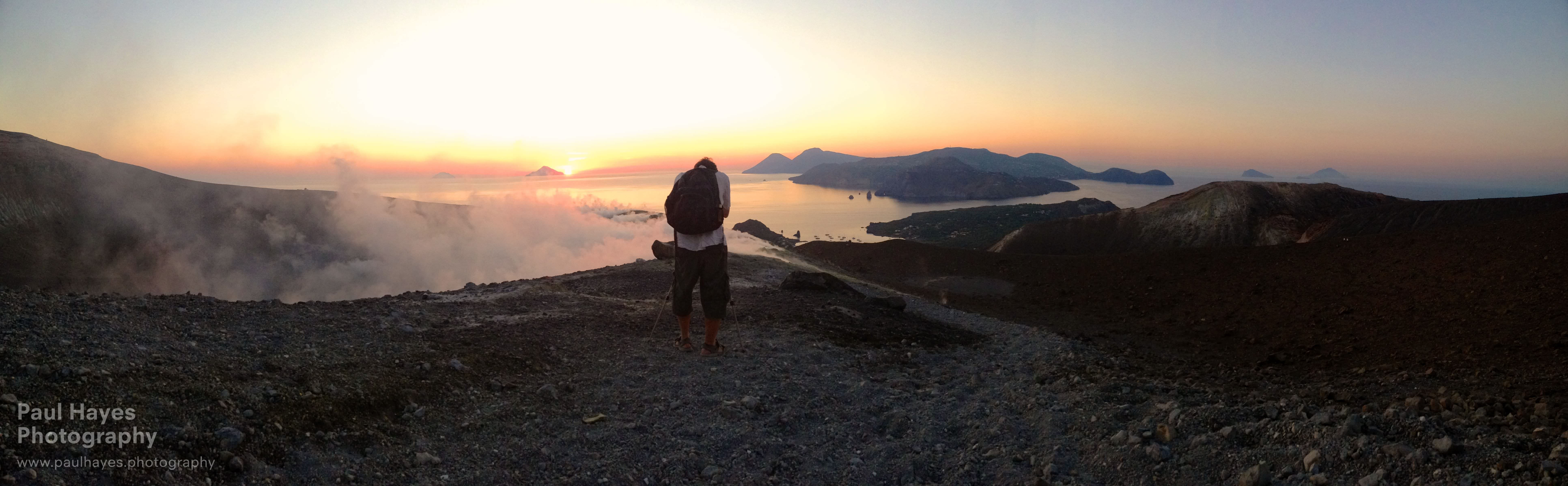 Paul photographing the islands, crater and sunset